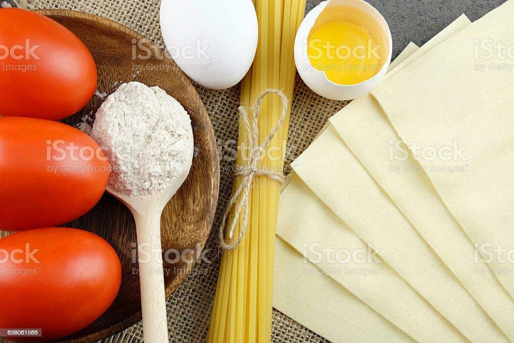 Basic ingredients for cooking Italian pasta. stock photo