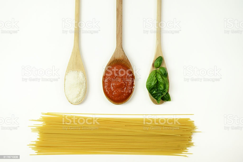 basic ingredients for Italian Spaghetti stock photo