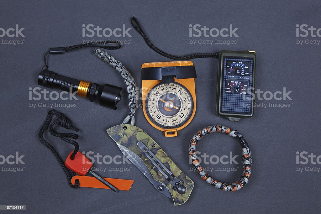 Basic items for survival. stock photo