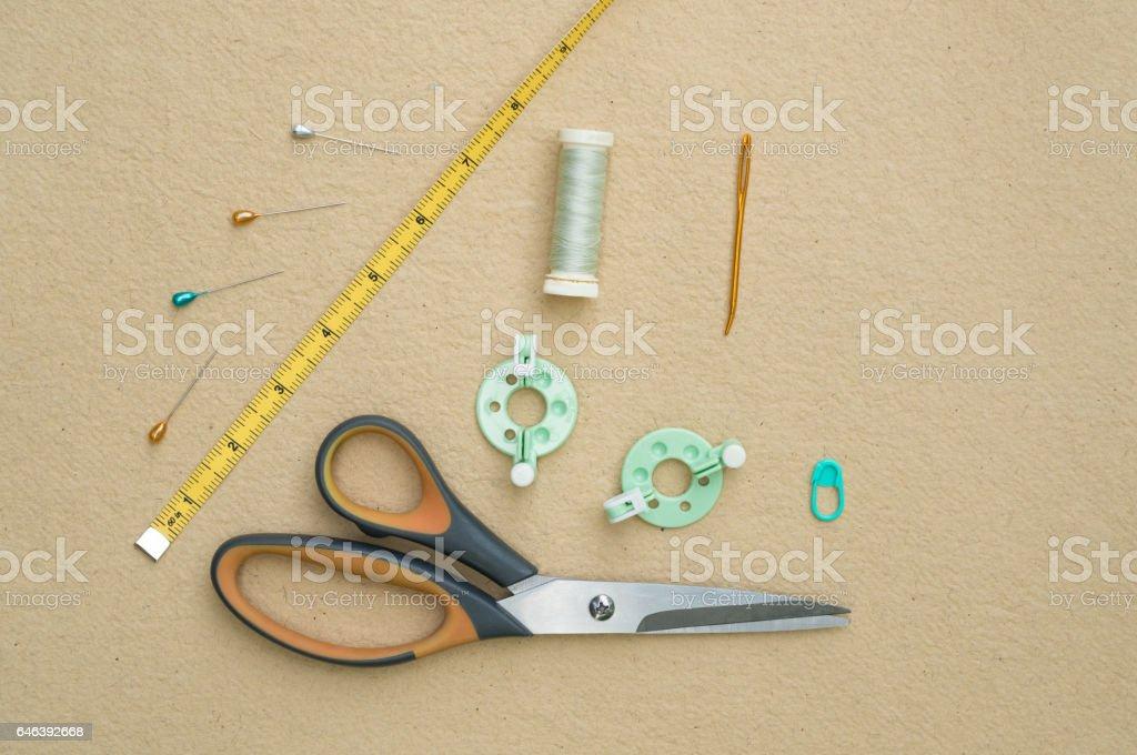 Basic Knitting Tools Flat Lay stock photo