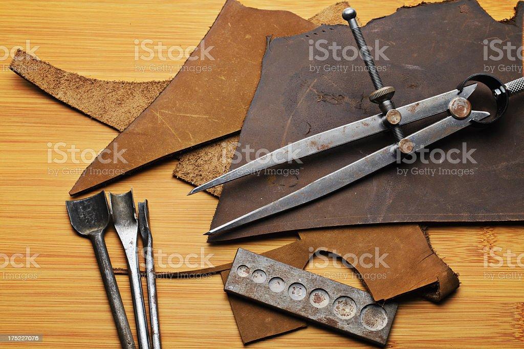 basic leather craft tool stock photo