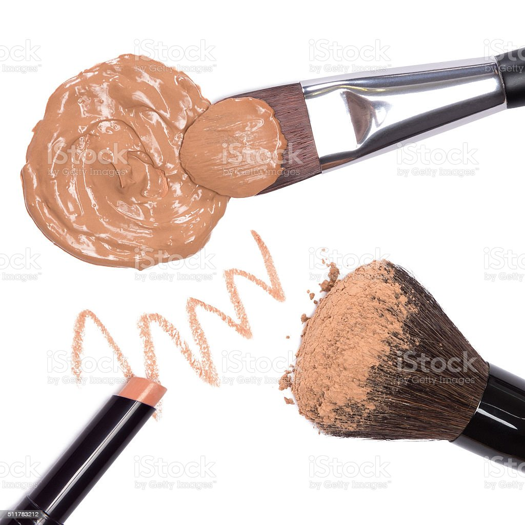 Basic makeup products to create beautiful skin tone stock photo