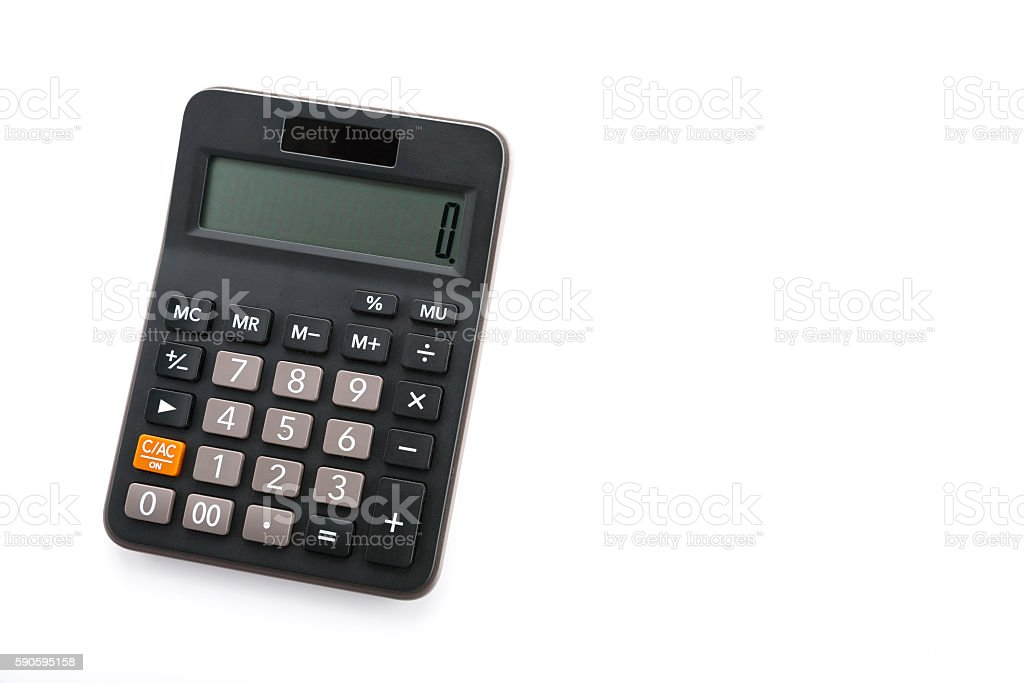 basic one liner calculator with rubber keypad stock photo