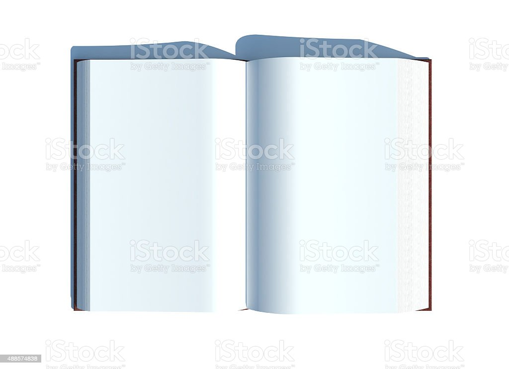 Basic Open Book witth white blank pages stock photo
