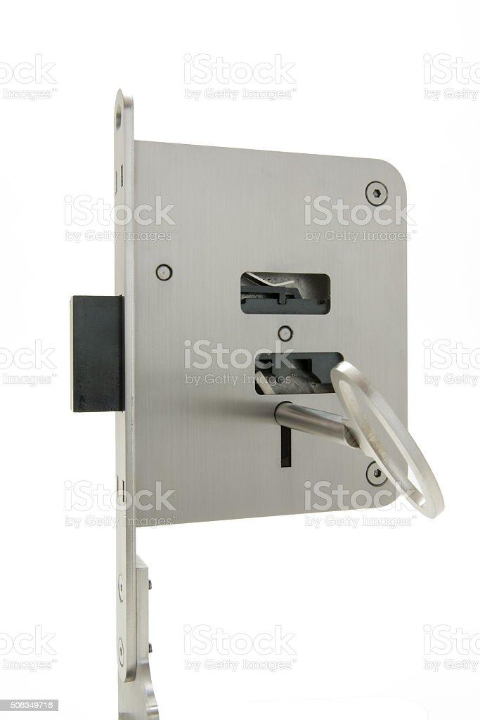 Basic sample door lock with key royalty-free stock photo
