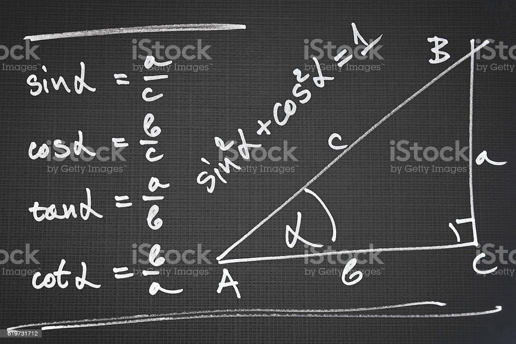 Basic trigonometric functions stock photo