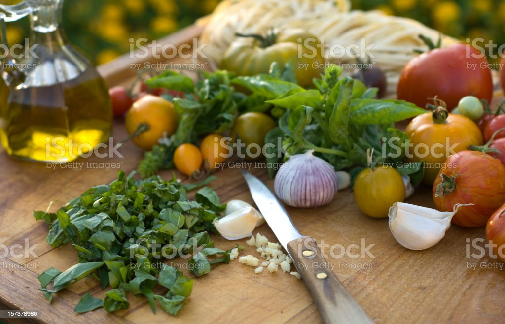 Basil Herbs & Ingredients for Pasta Italian Food & Dinner Cooking Preparation stock photo