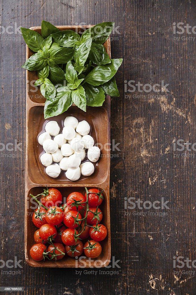 basil, mozzarella, tomatoes stock photo