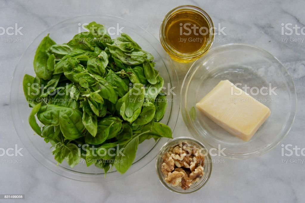 Basil, Olive Oil, Walnuts and Mozzarella stock photo