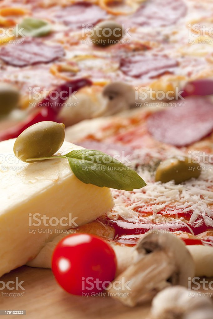 Basil on a Pizza royalty-free stock photo