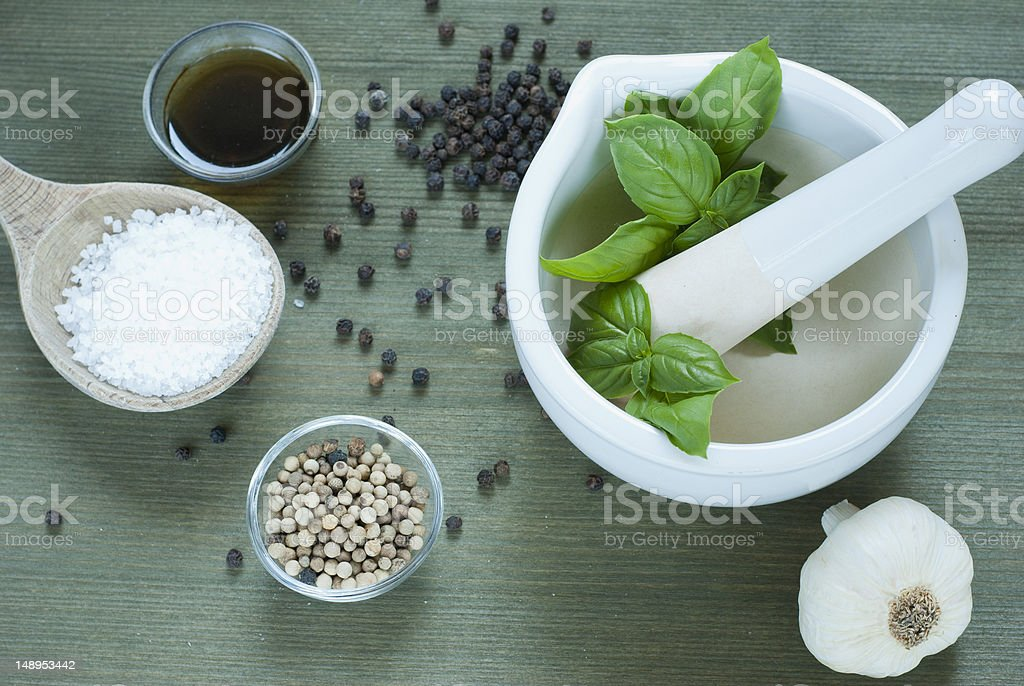 Basil, spices stock photo