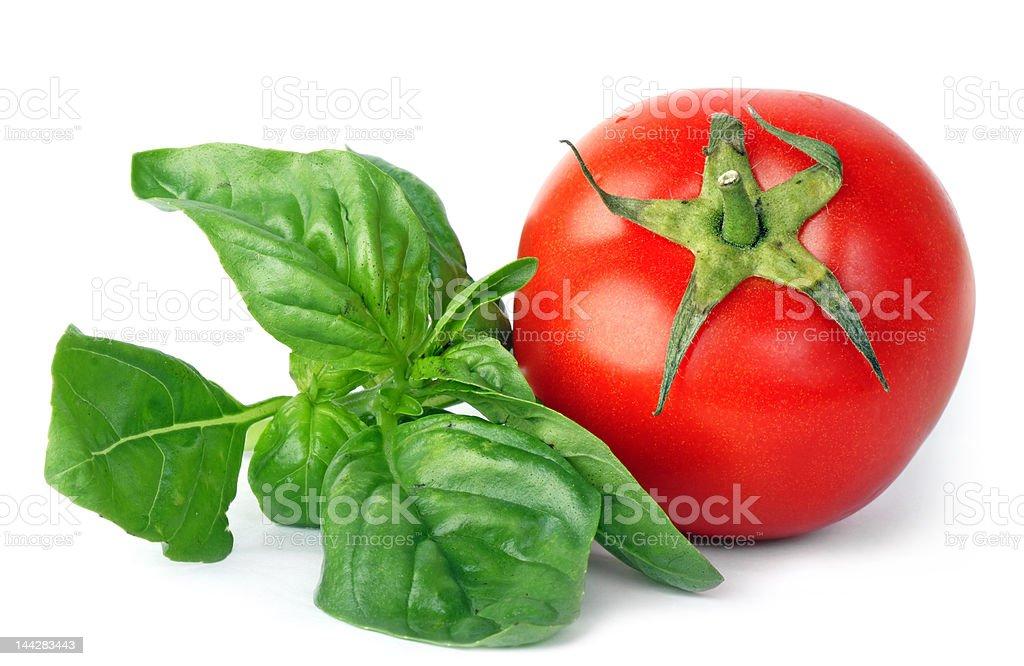 Basil & tomato royalty-free stock photo