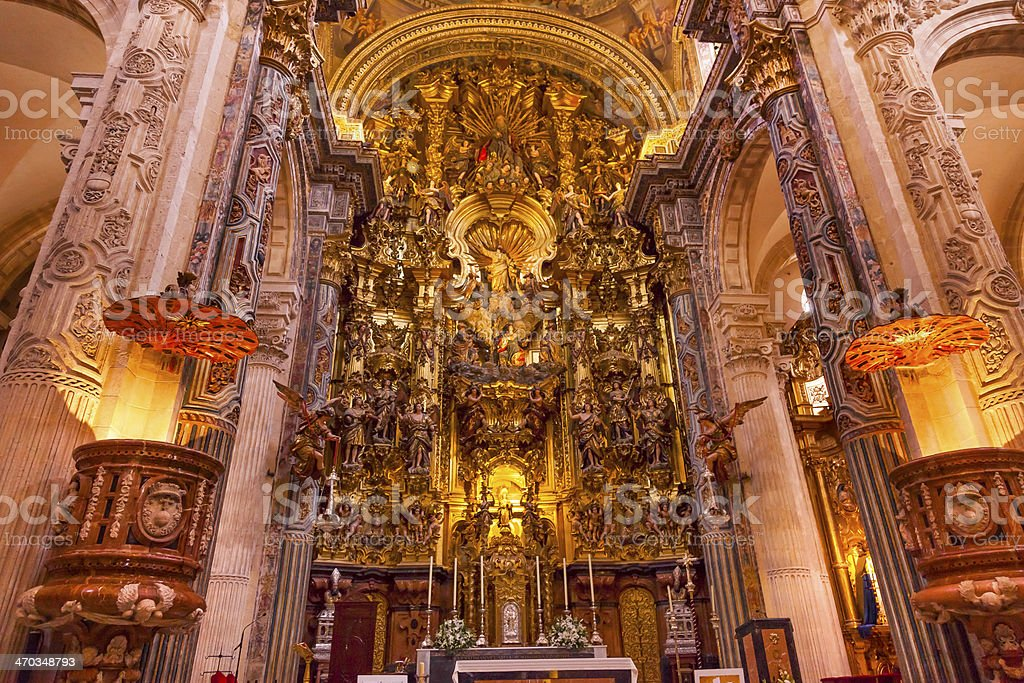 Basilica Altar Church of El Salvador Seville Andalusia Spain royalty-free stock photo