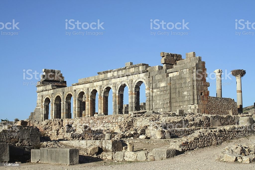 Basilica and Forum at Volubilis stock photo