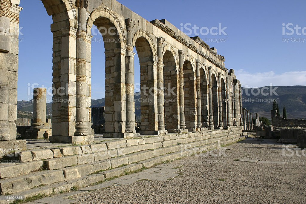 Basilica at Volubilis stock photo