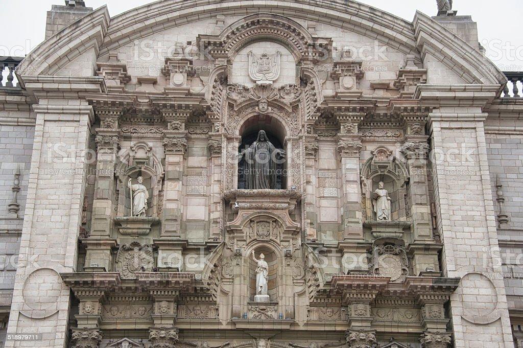 Basilica Cathedral of Lima, Peru. stock photo