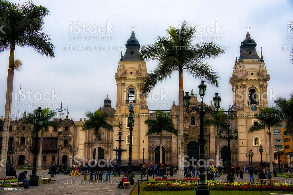 Basilica Cathedral of Lima, Peru. stock photo