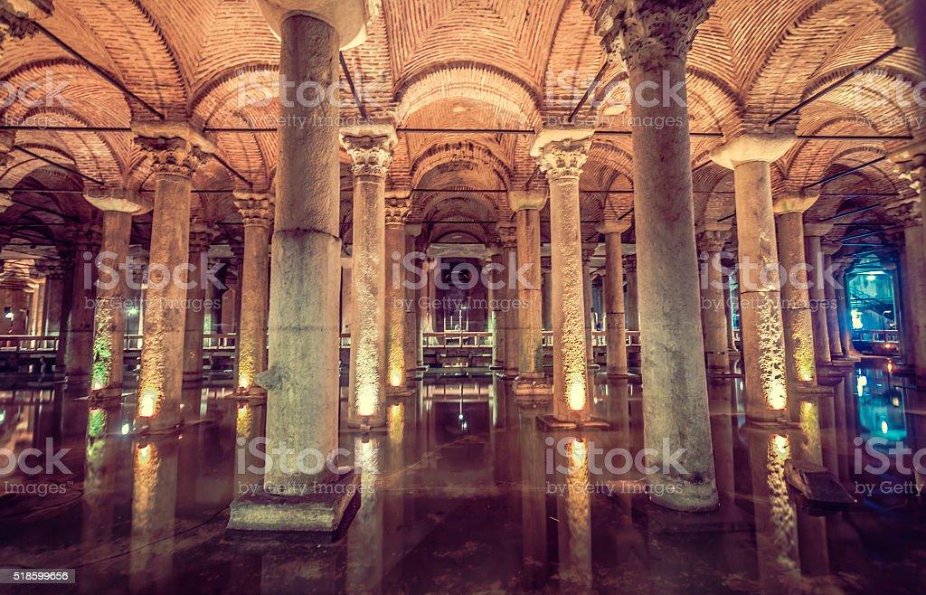 Basilica Cistern in Istanbul stock photo