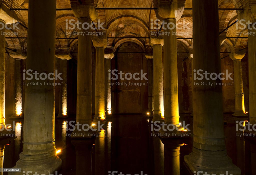 Basilica Cistern pillars stock photo