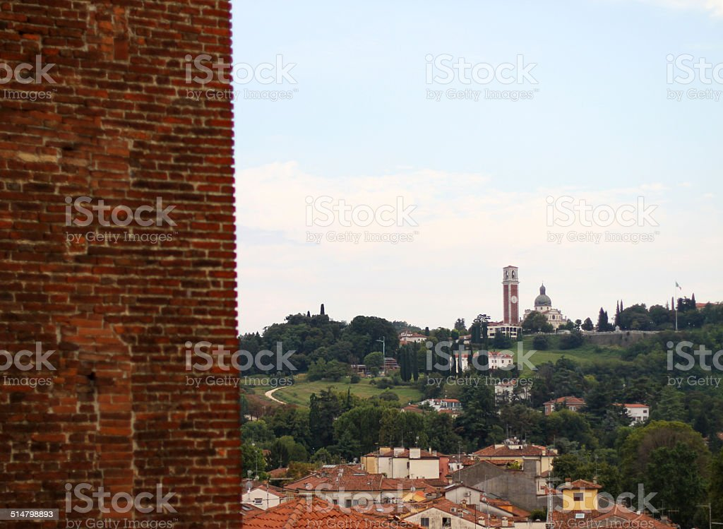 basilica di Monte Berico and the wall of the Tower stock photo