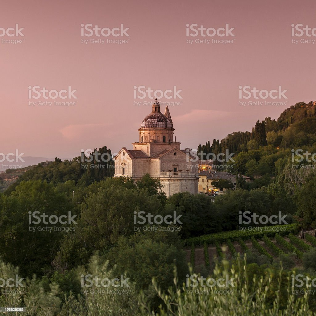 Basilica di San Biagio at dusk, Montepulciano, Tuscany, Italy stock photo