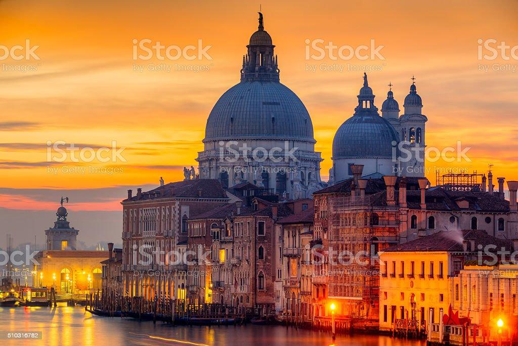 Basilica di Santa Maria della Salute at disk, Venice. stock photo