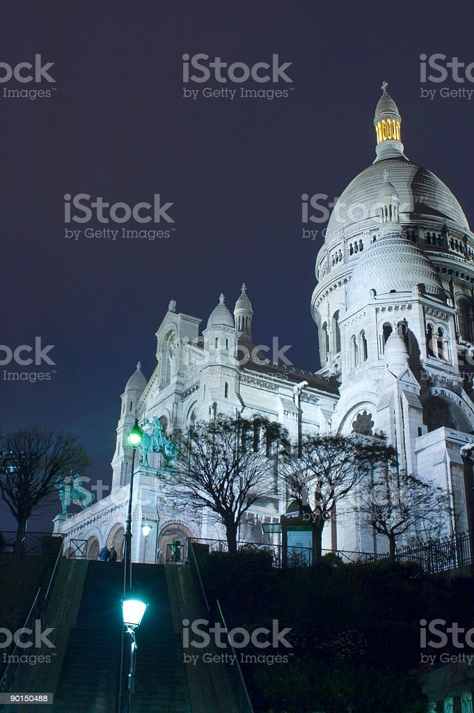 Basilica du Sacre Coeur, night, Paris royalty-free stock photo
