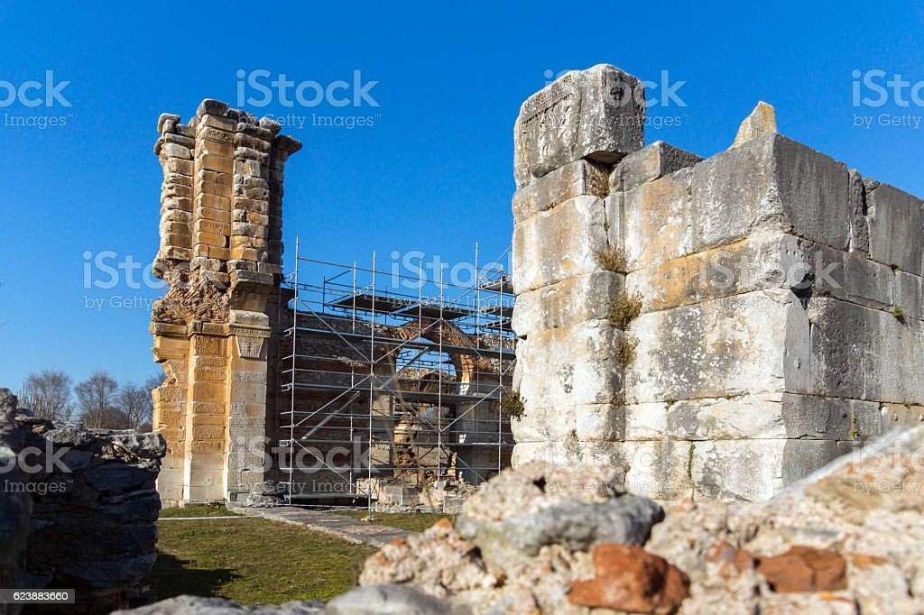 Basilica in archeological area of ancient Philippi,  Greece stock photo
