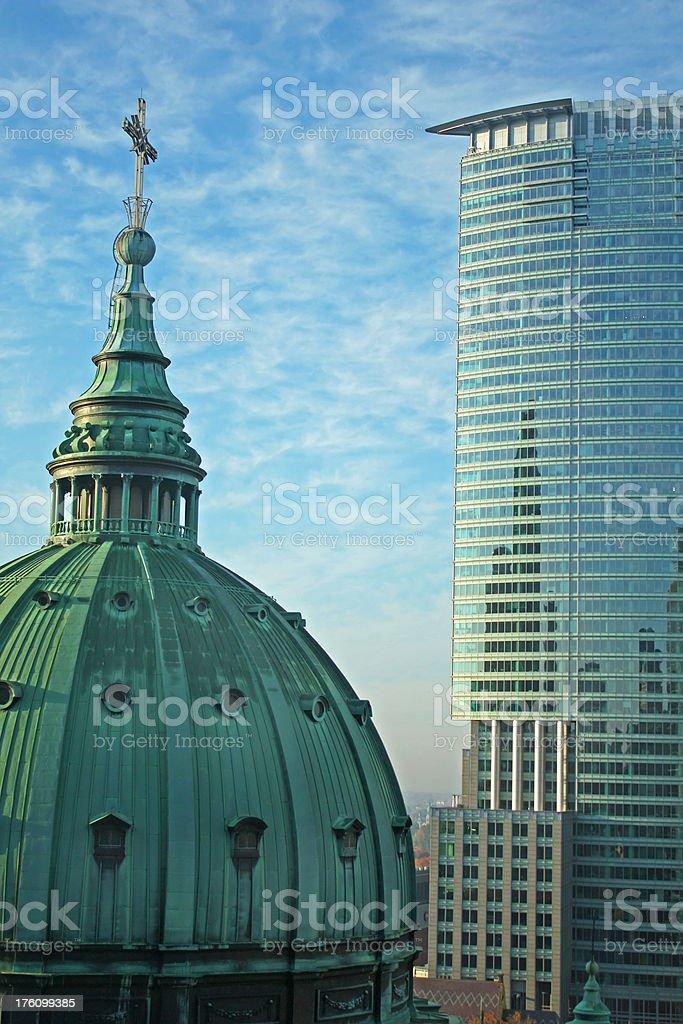 Basilica in Montreal stock photo