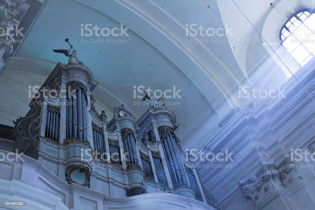Basilica minoris in Budslav, Belarus: antique organ royalty-free stock photo
