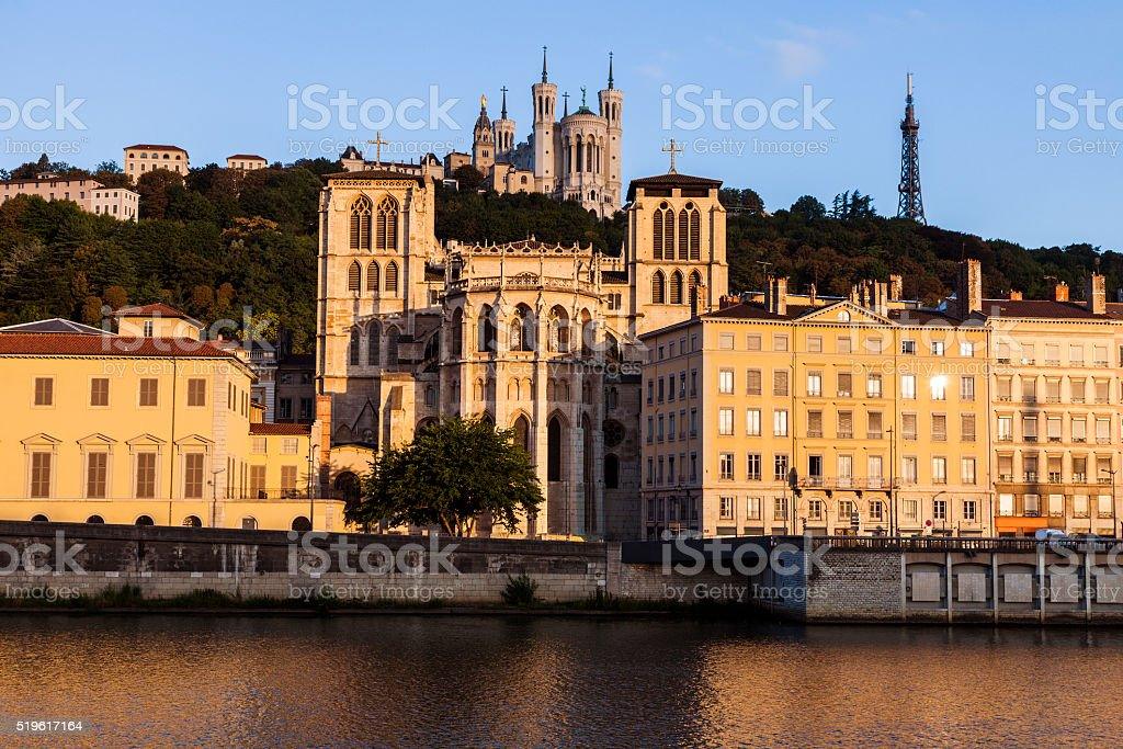 Basilica of Notre-Dame de Fourviere and Lyon Cathedral stock photo