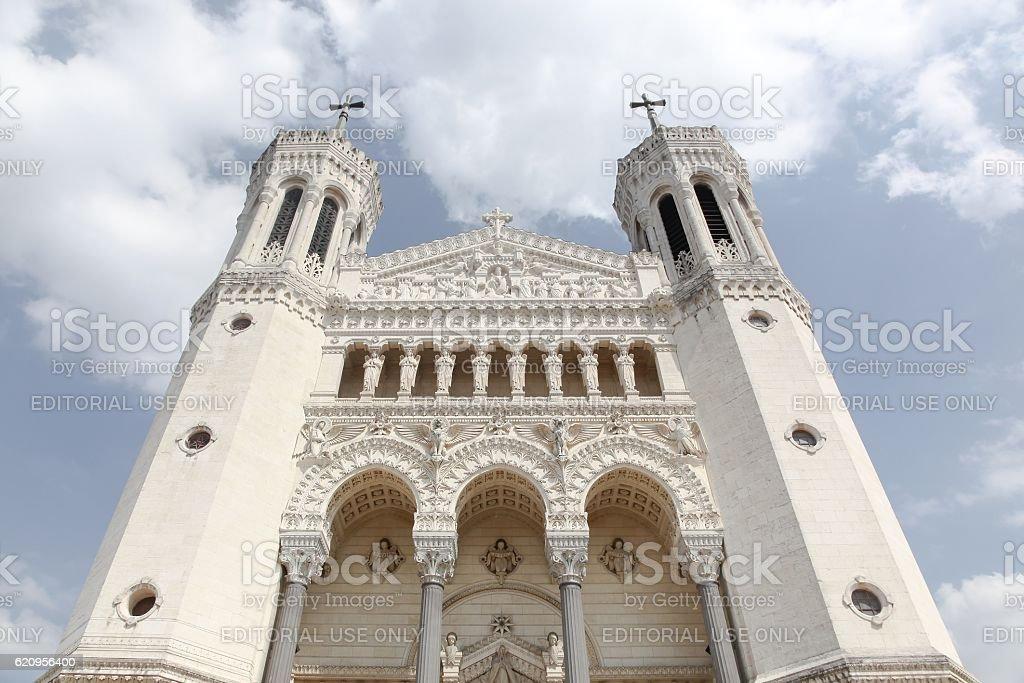 Basilica of Notre-Dame de Fourviere in Lyon, France stock photo