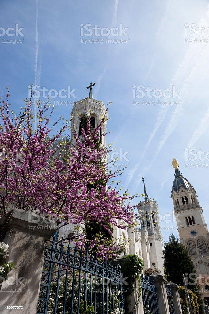 Basilica of Notre-Dame de Fourvi?re in Lyon stock photo