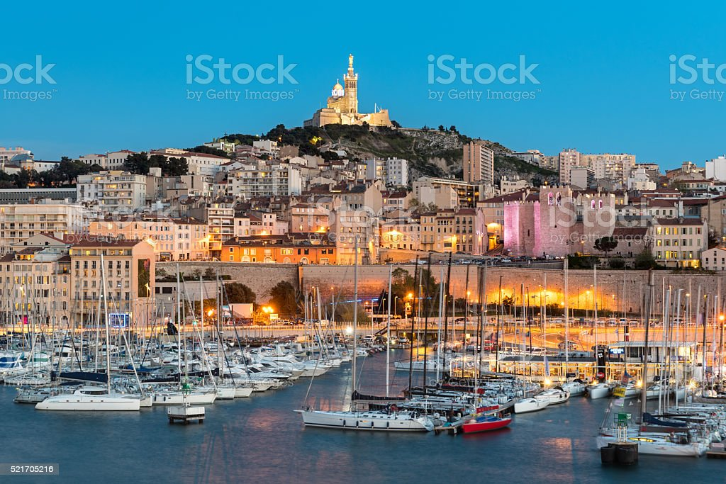 Basilique Notre-Dame de la Garde, Marseille Harbour, France stock photo