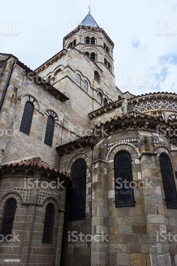 Basilica of Notre-Dame du Port in Clermont-Ferrand in France stock photo