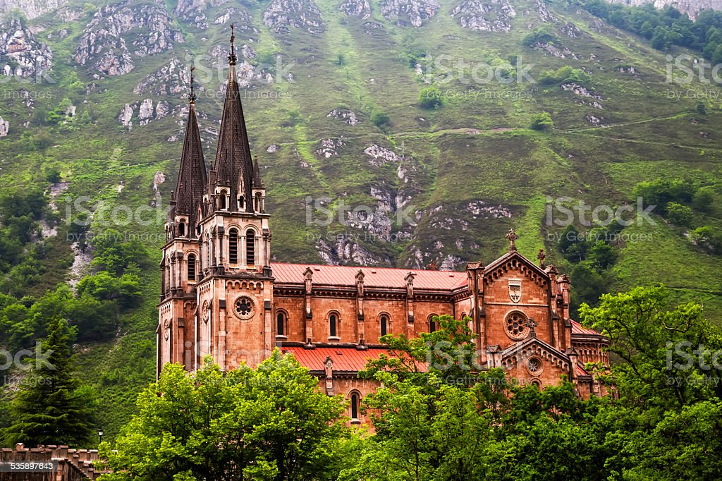 Basilica of Our Lady of Battles, Covadonga, Asturias, Spain. stock photo