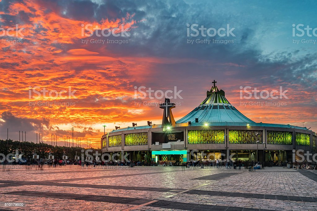 Basilica of Our Lady of Guadalupe Mexico City stock photo
