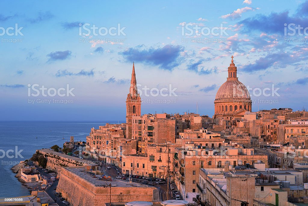 Basilica of Our Lady of Mount Carmel Valletta stock photo