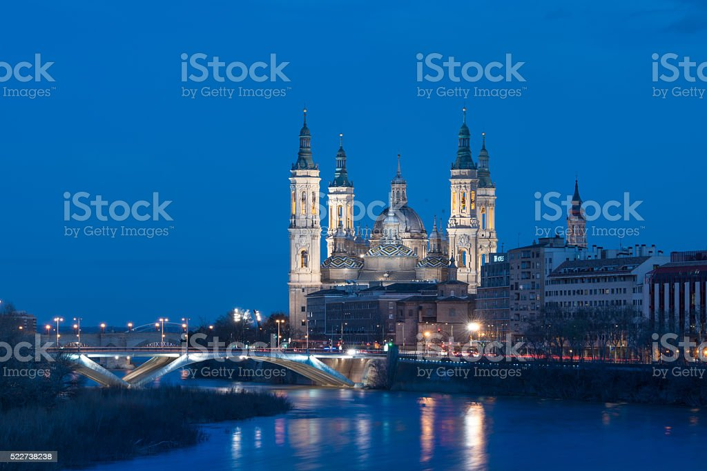 Basilica of Our Lady of the Pillar, Zaragoza, Spain stock photo