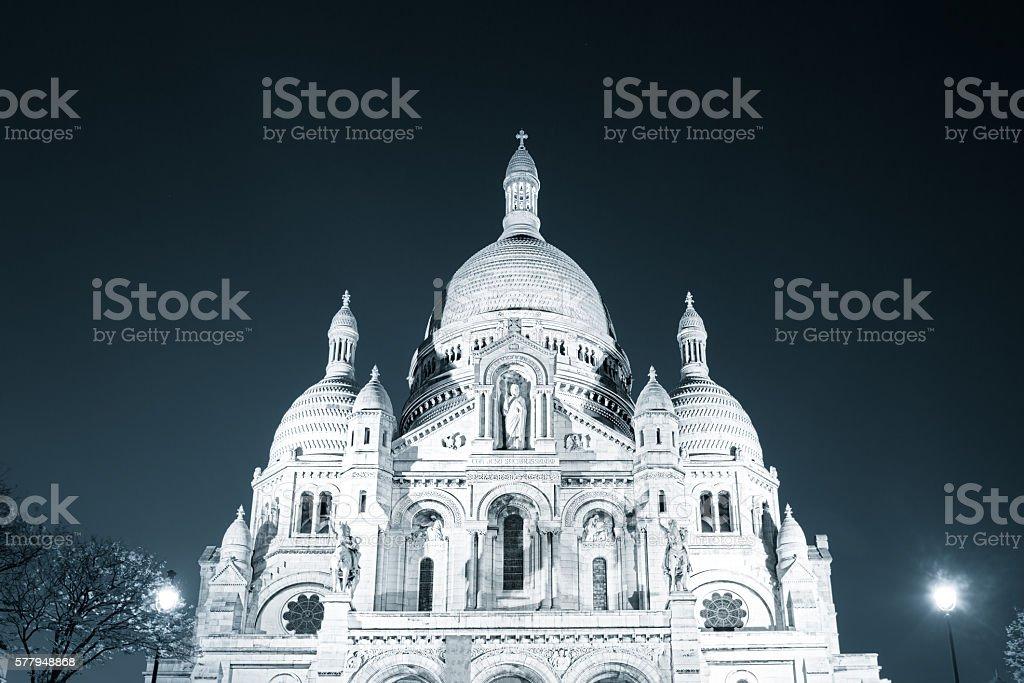 Basilica of Sacre Coeur at night, Paris, France stock photo