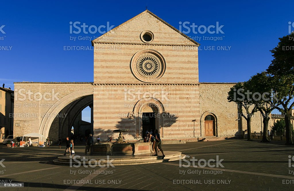 Basilica of Saint Clare and Blue Sky, Assisi, Italy. stock photo