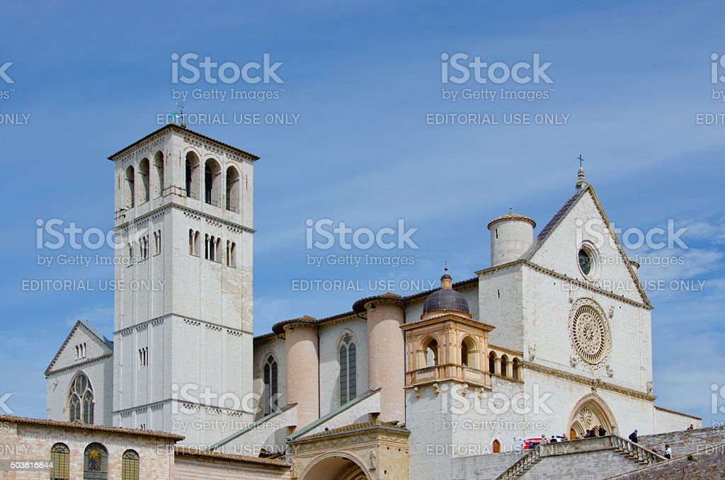 Basilica of Saint Francis in Assisi, Italy stock photo