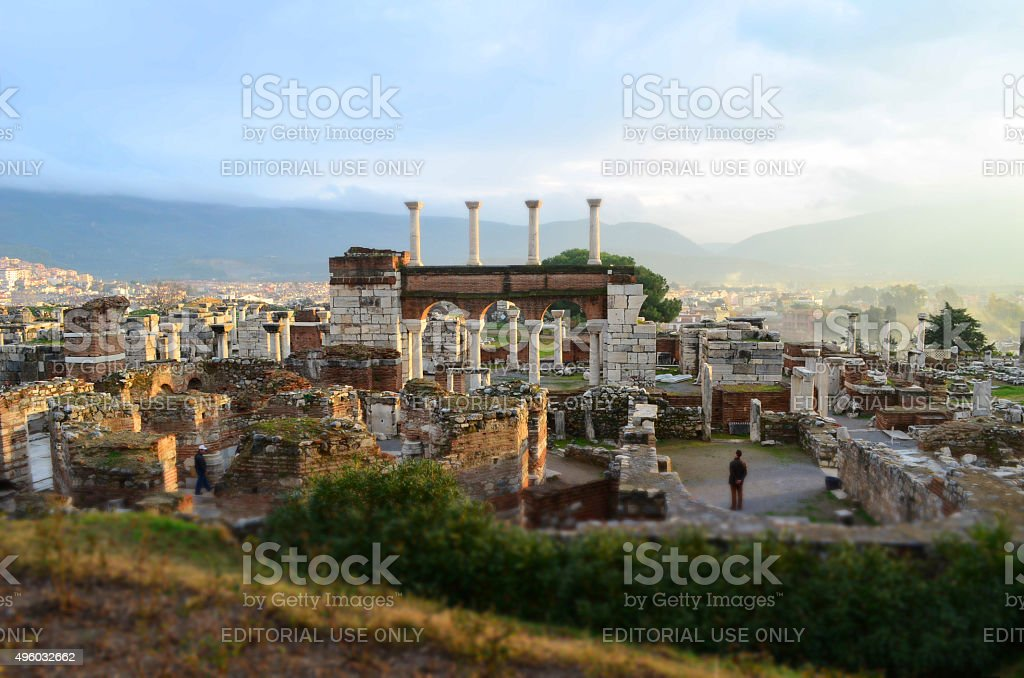 Basilica of Saint John - Panoramic view - Tilt-shift (Izmir, Turkey) stock photo