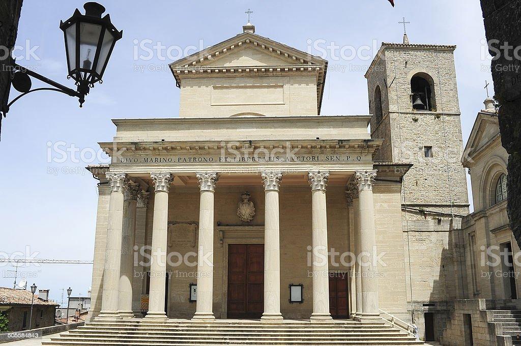 Basilica of saint Marinus on Borgo Maggiore stock photo