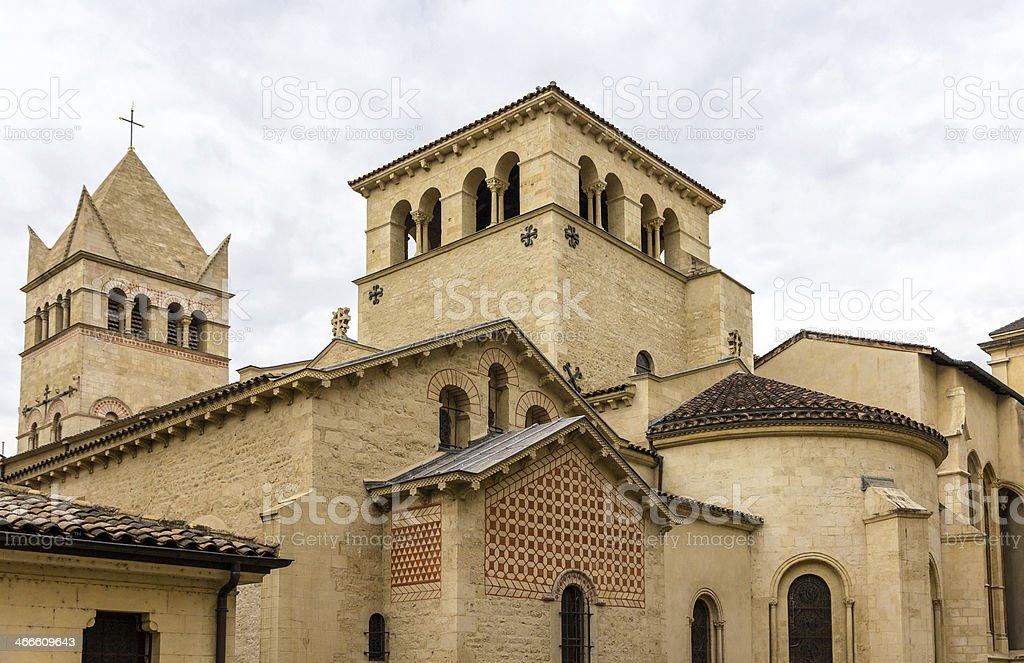Basilica of Saint-Martin d'Ainay, 11th century church in Lyon, F stock photo