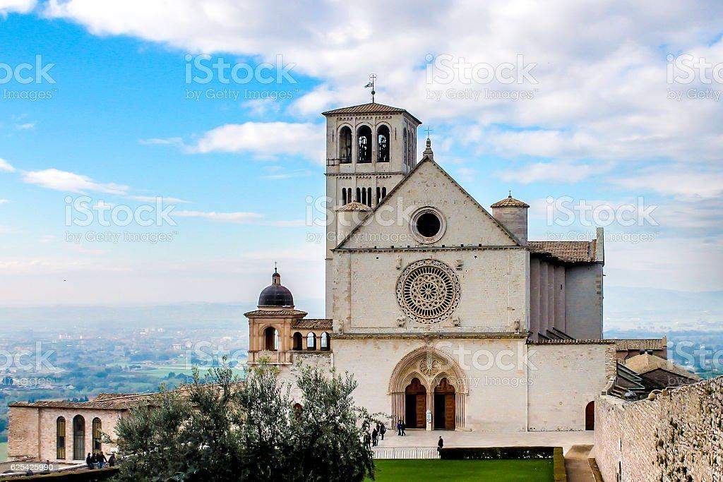 Basilica of San Francesco d'Assisi, in Assisi, Italy stock photo