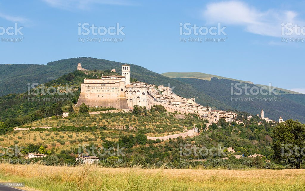 Basilica of San Francisco and Assisi cityscape, Umbria Italy stock photo