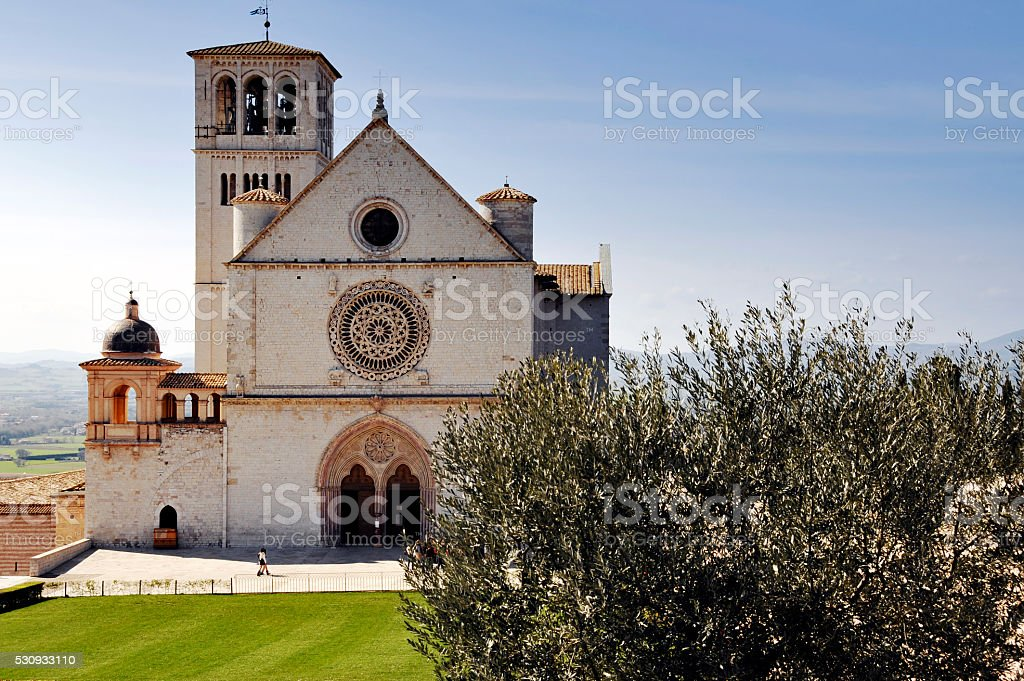 Basilica of San Francisco in Assisi, Umbria,Italy stock photo