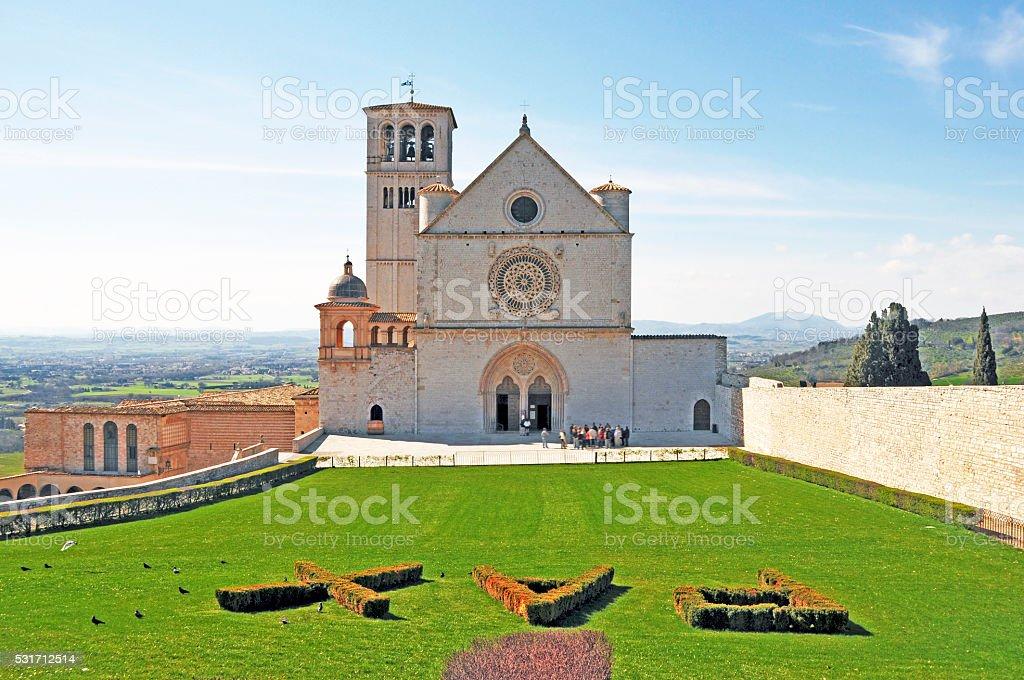 Basilica of San Francisco in Assisi, Umbria,Italy stock photo