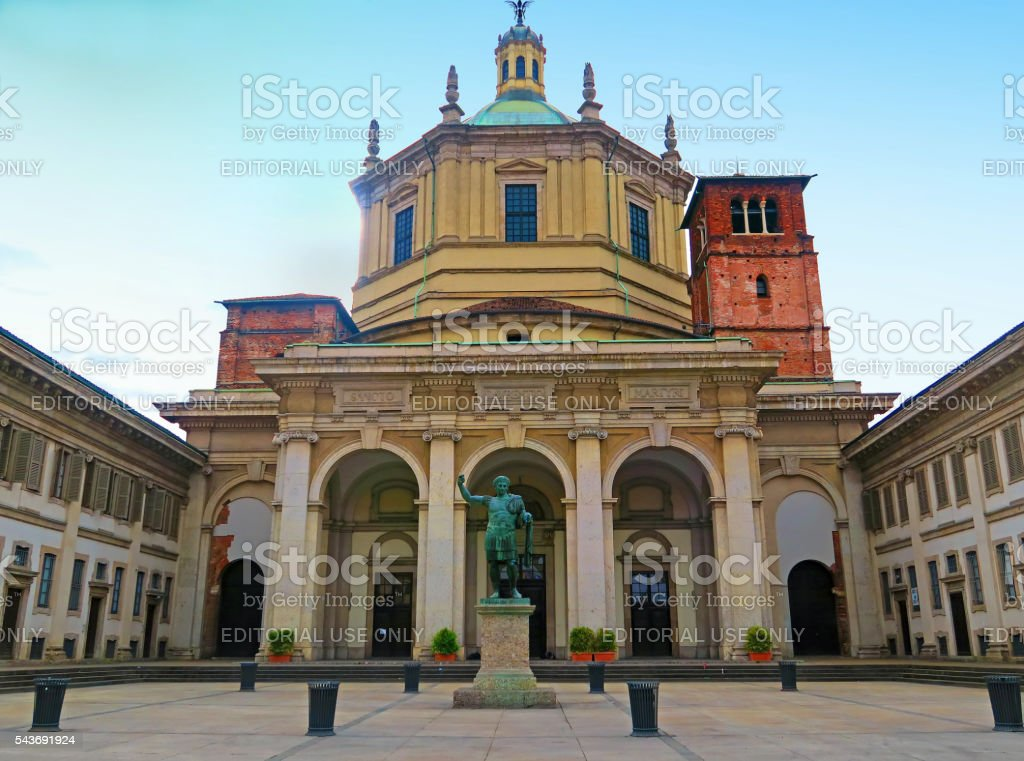Basilica of San Lorenzo, Milan,Italy stock photo
